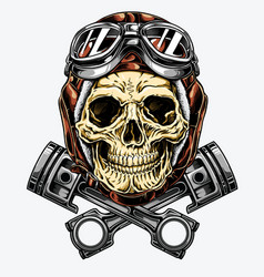 motorcycle skull with helmet and goggles vector image