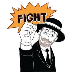 Mustache man in black suit fight vector