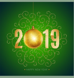 new 2019 year greeting card with christmas ball vector image