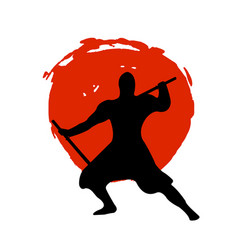 Ninja warrior silhouette on red moon and white vector
