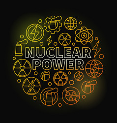 Nuclear power round colorful vector