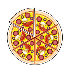 pizza ingredients in doodle style vector image