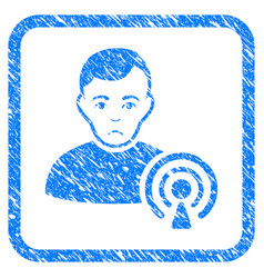 Podcast creator framed stamp vector