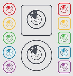 radar icon sign symbol on the Round and square vector image