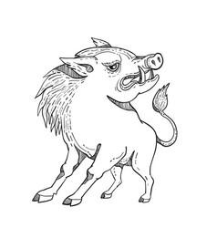 razorback doodle art black and white vector image