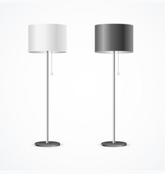 realistic detailed 3d floor lamp black and white vector image