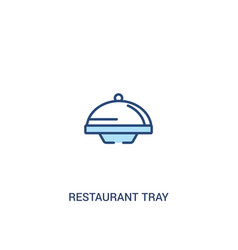 Restaurant tray concept 2 colored icon simple vector