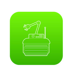Robot crane icon green vector