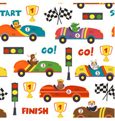 seamless pattern with race cars and animals vector image