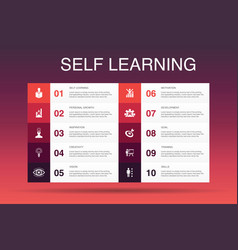 Self learning infographic 10 option template vector