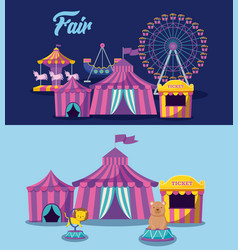 set circus tent and icons vector image