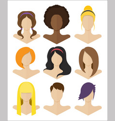 set flat female hairstyles vector image