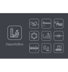 Set of deportation simple icons vector