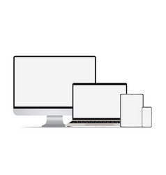 set of realistic computer laptop tablet and vector image