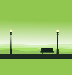 Silhouette of street lamp and chair scenery vector
