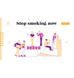 smokers and smoking addiction landing page vector image