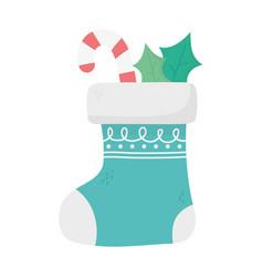 Sock candy cane celebration happy christmas vector