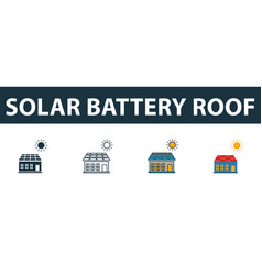 solar battery roicon set premium symbol in vector image