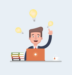 stock of a businessman having ideas while vector image