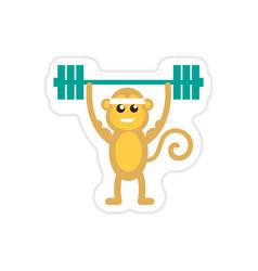 Stylish paper sticker on white background monkey vector