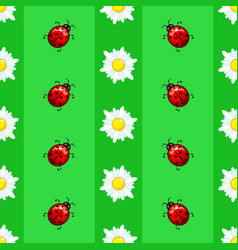 summer seamless pattern with daisies and ladybugs vector image
