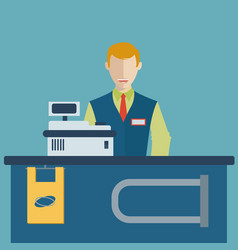 Supermarket store counter desk equipment and vector
