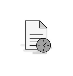 task on time web icon flat line filled gray icon vector image