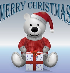 teddy bear white in red sweater red hat vector image