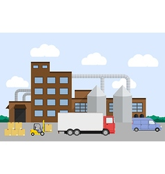 truck loading near factory vector image