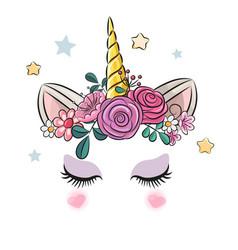 Unicorn horn with flowers cute vector
