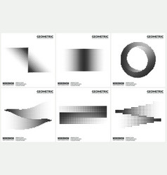 Universal halftone geometric shapes for design vector