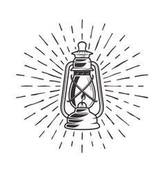 vintage kerosene lantern with rays vector image