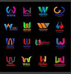 w letter icons modern business company design vector image