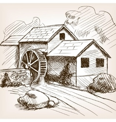 Water mill hand drawn sketch vector