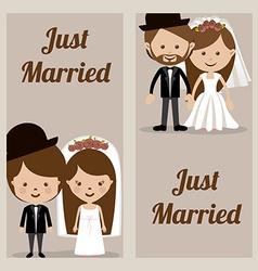 Wedding design over beige background vector