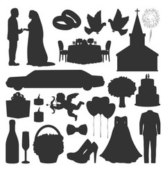 Wedding love marriage ceremony silhouette icons vector