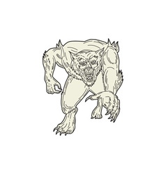 Werewolf Monster Running Mono Line vector