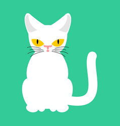 White cat isolated pet on green background vector