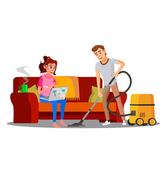 woman sitting on sofa with book man vacuuming vector image