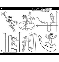 businessmen cartoon characters set vector image vector image