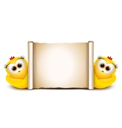 Easter card design template Two funny chicken vector image