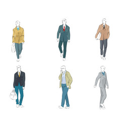 set of six businessmen vector image vector image