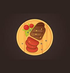 steak a piece of meat cuts cartoon vector image