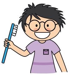 boy brushing her teeth vector image vector image