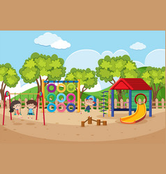 children playing in playground at daytime vector image vector image