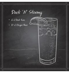 Cocktail dark and stormy on black board vector