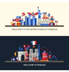 France USA travel banners set with famous French vector image vector image