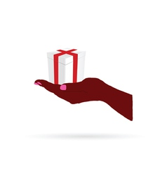 gift in hand color vector image