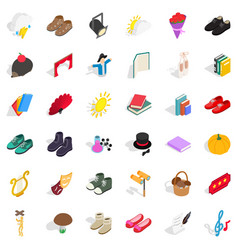 old clothes icons set isometric style vector image