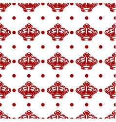 royal seamless pattern with red crowns vector image vector image